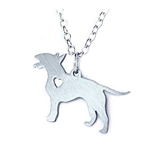 GYKMDF - Collana con ciondolo a forma di Bull Terrier in argento, con ciondolo a forma di razza