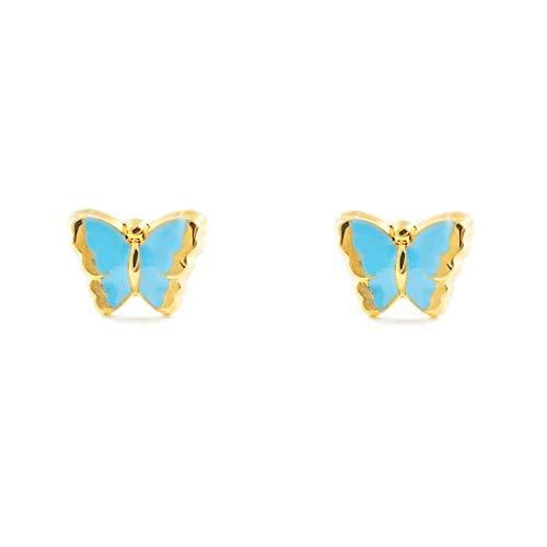 Orecchini per bambini blu Farfalla - oro giallo 18k (750)