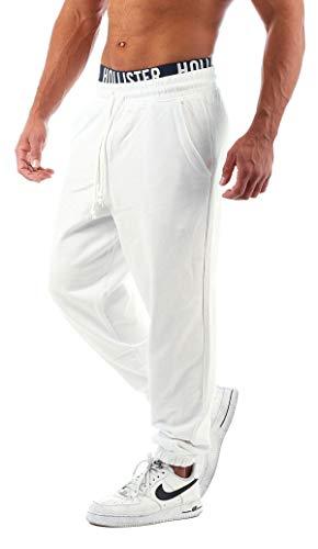 Young & Rich 301 - Pantalones de chándal para hombre, corte regular crema y blanco L