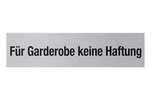 """Metafranc Klebeschild """"Für Garderobe keine Haftung"""" - 160 x 40 mm - Aus Aluminium - In moderner Edelstahl-Optik - Selbstklebende Rückseite / Beschilderung / Infoschild / Gewerbekennzeichnung / 507030"""