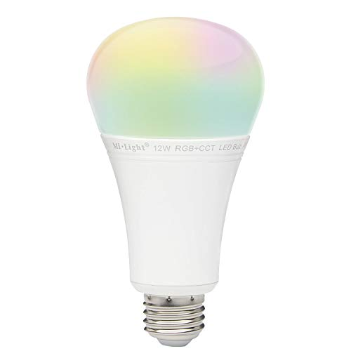 Mi Light 12W RGB+CCT LED Bulb WiFi Lamp Color Original Mi-Light Warm White Dimmable Remote and App Control (RGBC-12W-NEW)