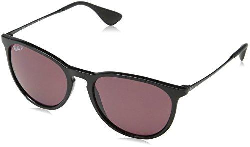 Ray-Ban RB4171 Erika Round Sunglasses, Black/Polarized Violet Mirror, 54 mm