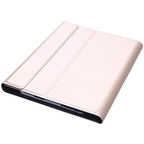 YDong Caja del Teclado para 2/3/4, Caso Giratorio de 360 Grados con Desmontable Teclado Inalámbrico para A1395/A1396/A1397/A1416/A1430/A1403/A1458/A1459/A1460 Oro