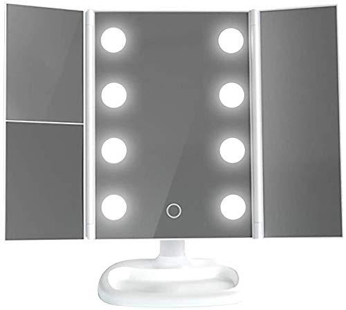 Espejo de vanidad LED Tri-Fold con Soporte de Metal Ligero Escritorio Maquillaje Iluminado Maquillaje (Color : White, Size : 345x275mm)