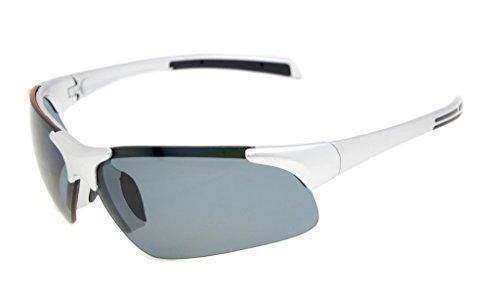 Eyekepper Policarbonato Semi-Rimless Polarized Gafas de Sol Deportivas Béisbol sin medias Béisbol Pesca de conducción Golf Softball Senderismo TR90 Irrompible plata gris lentes