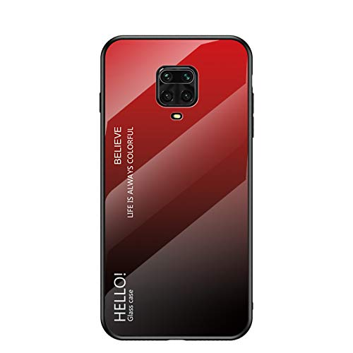 BeyondTop Multicolor Case for Xiaomi Redmi Note 9S Case Gradient Clear Tempered Glass Cover Case Compatible with Xiaomi Redmi Note 9S (Red)