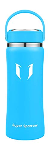 Super Sparrow Stainless Steel Water Bottle - Metal Water Bottle Wide Mouth - 750ml -BPA Free, Leakproof- Flask Great for Running, Gym, Yoga, Outdoors and Camping