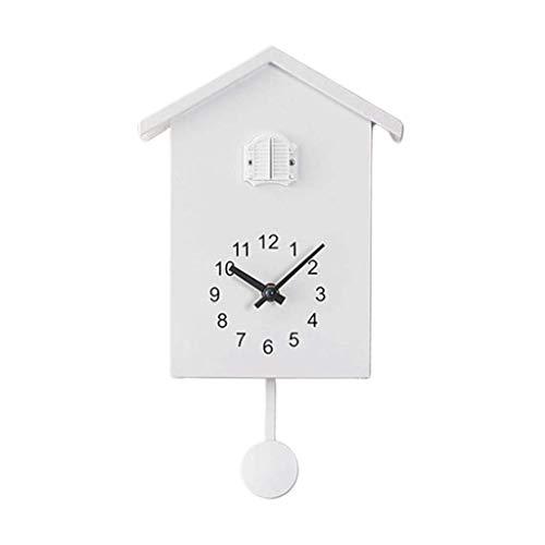 Backbayia Modern Kuckucksuhr Wanduhr ohne Tickgeräusche Kukusuhr Pendeluhr für Wohnzimmer, Kinderzimmer, Büro (Weiß)