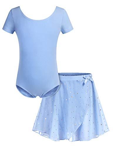 Bricnat Mädchen Ballettkleidung Ballettkleid Tanzbody Gymnastikanzug Balletttrikot Kurzarm Tanzkleid mit Tütü Kinder Baumwolle Blau 160