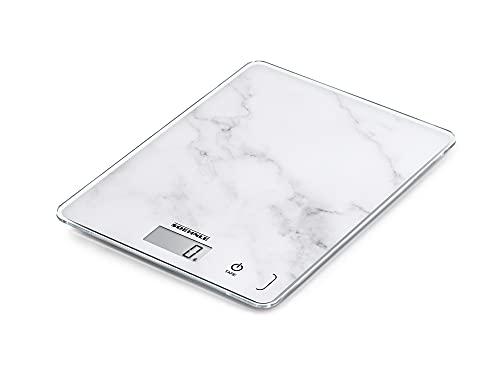 Soehnle Page Compact 300 Marble, digitale Küchenwaage mit Marmormuster, Gewicht bis zu 5 kg, Haushaltswaage mit patentierter Sensor-Touch-Funktion, elektronische Waage inkl. Batterien