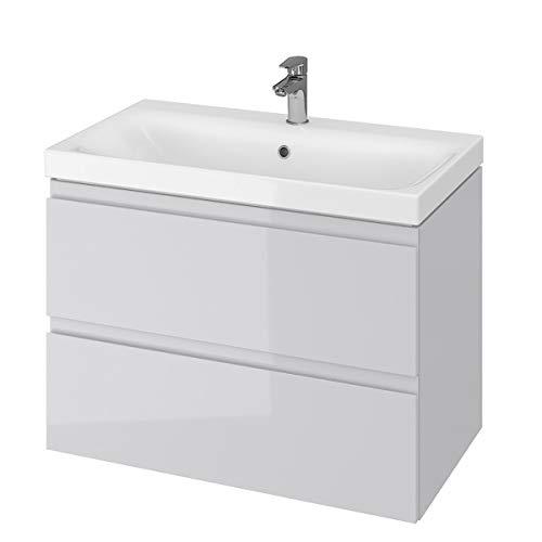 VBChome Badmöbel 80 cm Grau Waschbecken mit Unterschrank Waschtisch 2-Schubladen Moduo