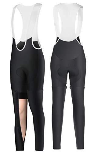 Ceroti ThermalFleece Cycling Bike Bibs Shorts FullOpen Zipper OnePullOff Legging Set,Knickers Optional
