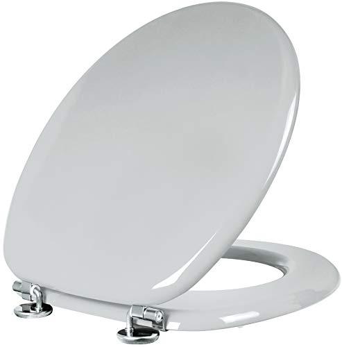 """Cornat WC-Sitz """"Modena"""" - Schlichter Look in manhattangrau - Hochwertiger Holzkern - Komfortables Sitzgefühl - Unifarbenes Design passt in jedes Badezimmer / Toilettensitz / Klodeckel / KSH22"""