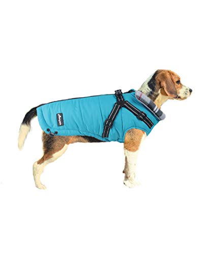 ASMPET Dog Coat for Small Dog, Dog Winter Coat with Harness, Cold Weather Warm Dog Vest Reflective, Blue XS (Chest:12.6