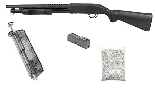KOSxBO realistische Airsoft Schrotflinte, schwarz - Länge 920mm- Kaliber 6mm - <0,5J - Ink. Magazin, Speedloader und 6MM Premium BBS - Terminator PUMPGUN - Shot Gun - Softair Pumpguns