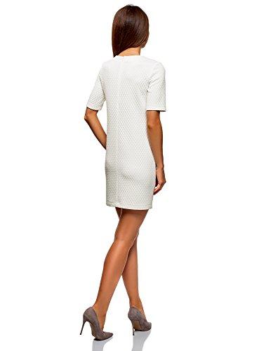 oodji Collection Mujer Vestido Recto de Tejido Texturizado, Blanco, ES 36 / XS