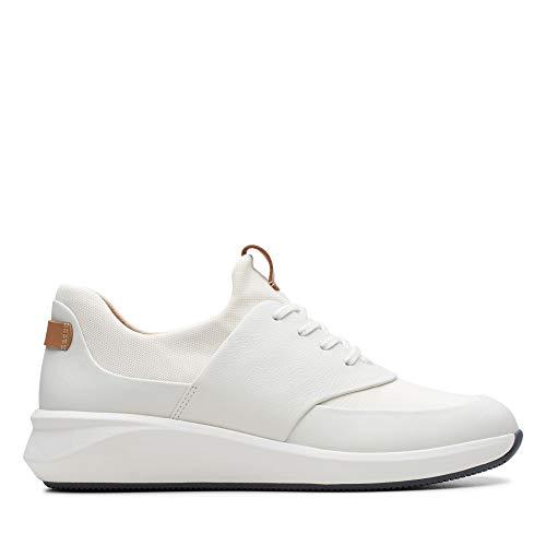 Clarks Damen Un Rio Lace Derbys, Weiß (White Leather), 39.5 EU
