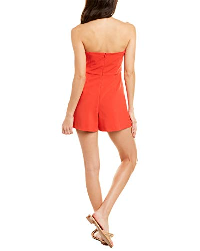 French Connection Women's Whisper Light Romper, Fire Coral, 10