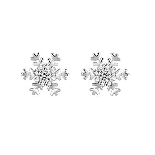 wynn's Silver Christmas Stud Earrings for Women, 925 Sterling Silver Xmas Snowflake Stud Earrings, 10mm Small Sleeper Studs with AAAAA White Cubic Zirconia, Gift for Christmas, Come with Jewellery Box