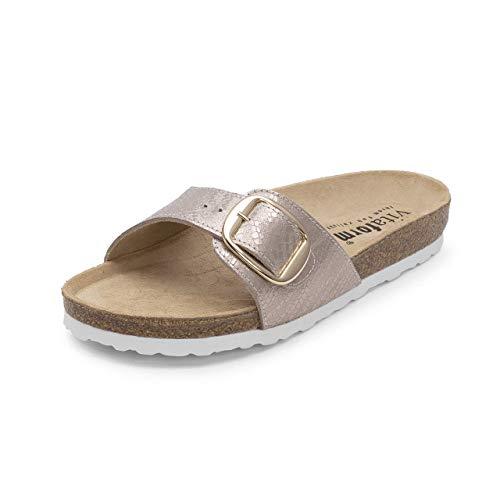 VITAFORM® Damen Pantolette Sandale Echt Leder Mit Naturkork – Bequemer Hausschuh Mit Luftpolsterfußbett (Beige/Metallic, Numeric_37)