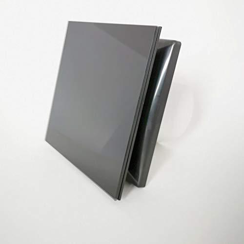 Vlano A-GLAS 100 BK TH Timer Hydro Badlüfter schwarz Feuchtigkeitssensor Nachlauf Echtglas Front/Glasfront Kugellager Rückschlagklappe (100 TH Hydro Timer, schwarz Glasfront)