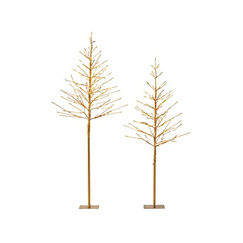 NOMA Pre-Lit LED Light Up Golden Trees Set | Outdoor Christmas Lawn Decoration | 4' & 5' Ft. | 2-Pack