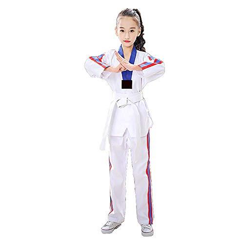BSEA Completo da Karate Bianco per Studenti per Bambini Uniforme in Poliestere/Cotone (Pre-restringibile) Kimono per Bambini con Cintura Bianca Verde-