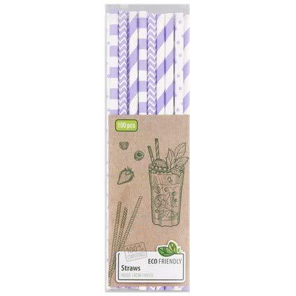 Cannucce di carta, 100 pezzi, colore viola e bianco, 100% biodegradabili, ECO Friendly