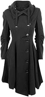 ZCLAU European and American Female Irregular Woolen Coat 2 Hooded Woolen Coats (Color : Black, Size : XXXL)