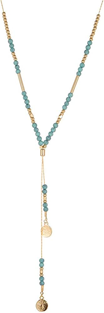 Y-Shaped Necklace Multi-Layer Handmade Beaded Necklace Fake Turquoise Beaded Pendant Necklace,Suitable For Party, Festival, Travel, Vacation,The Best Birthday Gifts Holiday Gifts