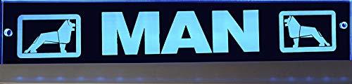 Schilderfeuerwehr LED-Leuchtschild mit Man-Logo 60x10 cm ✓ Ideale Geschenkidee ✓ Lasergraviert | Edles LED-Schild als Truck-Accessoire | Beleuchtetes Man Logo-Schild für den 12/24Volt-Anschluss |