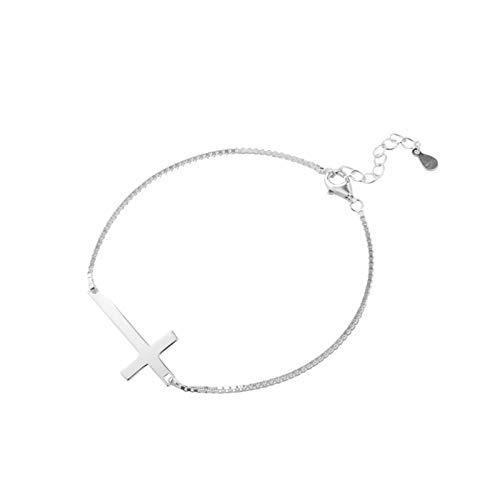 Daesar Silber 925 Damen Armband Charm mit Anhänger Kreuz Silber Armband für Frauen/Mutter/Freundin 21 cm