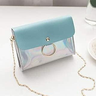 Gimax Shoulder Bags - Chains Women Single Shoulder Bag Laser Jelly Candy Women Messenger Crossbody Bag Holographic Patchwork Girls Handbag Mini Flap - (Color: Blue)