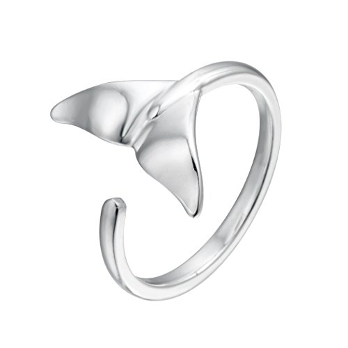 Cxwind 925 Sterling Silver Lovely Whale Fish Tail Animal Open Ring Birthday Christmas Gift Women Girls