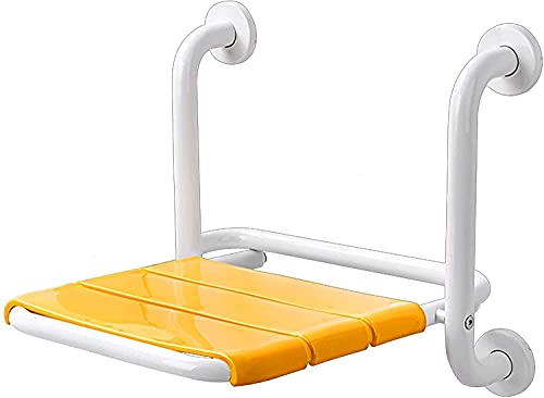 Riyyow Faltbare Wand Duschhocker Safety rutschfeste Wandmontage Duschsitz für ältere/behinderte Edelstahl Duschbank max.200kg (Color : Yellow)