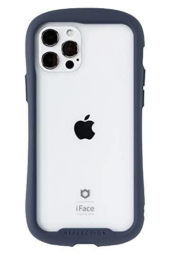 iFace Reflection iPhone 12/12 Pro ケース クリア 強化ガラス iPhone2020 6.1インチ [ネイビー]