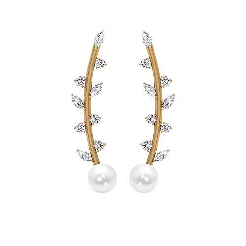 4,44 CT Pendientes de perlas de agua dulce y diamantes, pendientes curvos de escalador, pendientes orugas de oro (perla de agua dulce de 5 mm) 18K Oro amarillo, Par