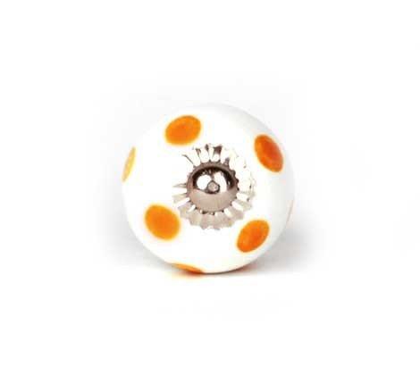 Unbekannt Petit Bouton de Meuble Blanc/Orange