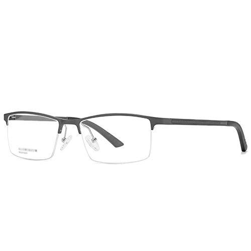 Gafas bloqueadoras de luz azul para hombre, estilo retro, montura de magnesio de aluminio antiluz azul, montura semimontura, funda de gafas y paño de cristal negro Talla única