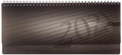 rido/idé 7036102901 Tischkalender/Querterminbuch septant, 2 Seiten = 1 Woche, 305 x 105 mm, PP-Einband anthrazit, Kalendarium 2021, Wire-O-Bindung, verlängerte Rückwand