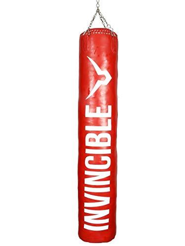 Invincible Classic Vinyl Never Tear Boxing Bag (Red, 80 cm X 35 cm -20 KG)