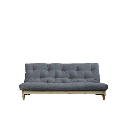 Karup Design Fresh | 3 sitzer Futon Schlafsofa im skandinavischen Stil, Natur Holz mit Grau Matratze 140 x 200 | Kiefer, FSC Mix Zertifiziert Gestell: nordische, gris, 90 x 140 x 200