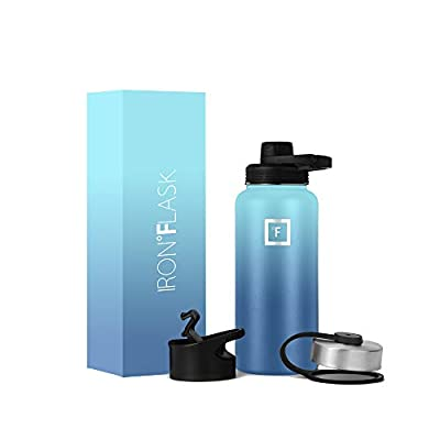 IRON °FLASK Sports Water Bottle - 22 Oz, 3 Lids (Spout Lid), Vacuum Insulated Stainless Steel, Hot Cold, Modern Double Walled, Simple Thermo Mug, Hydro Metal Canteen (Waves)