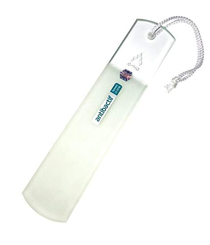 島回答マティスA-KG BLAZEK かかと用やすり ガラス製 抗菌 クリア 抗菌光触媒コーティング Antibactif かかと削り かかとやすり かかと 角質取り 乾かす時に便利なヒモ付