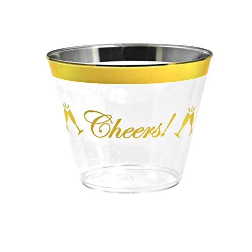Cheers Gold Rim Plastic Cups. 100 pack/9 oz, clear golden rimmed cup for cocktails, wine and water. Fancy disposable tumblers for parties, weddings, and special celebrations.