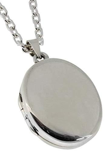 新宿銀の蔵 鏡面 シンプルシルバー 925 ロケットペンダント (チェーン付き 刻印する) レディース 女性用 Locket 写真入れ 刻印 刻印可