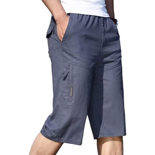 Pantalones Cortos de Talla Grande con Cintura elástica para Hombre Costura de Moda al Aire Libre Color sólido Ocio Camping Fitness Deportes Pantalones Cortos de Carga 5XL