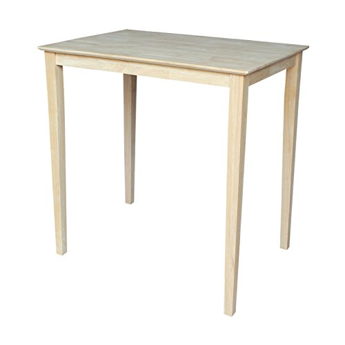 International Concepts Solid Wood Top Table with Shaker Legs, Bar Height