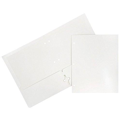 JAM PAPER Laminated Two Pocket Glossy 3 Hole Punch School Folders - Letter Size - High Gloss White - Bulk 25/Pack
