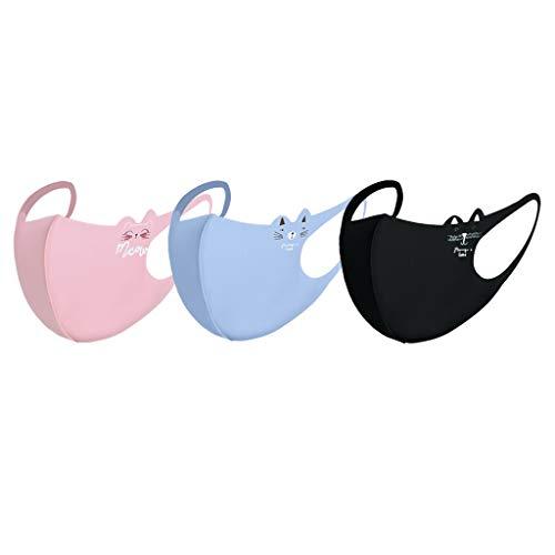 3 Stück Kinder Mundschutz Solide Staubdicht Waschbar Wiederverwendbare Schwamm Mund-Nasen-Abdeckung (Free size, G PC Masken)
